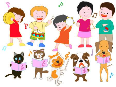 Concert for children and pets vector illustration.