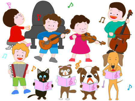 Concert for children and pets isolated on plain background