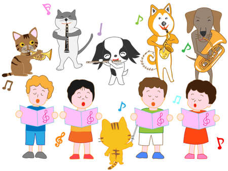 Concert for children and pets template vector illustration