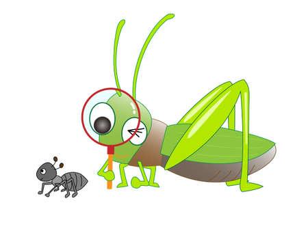 Les sauterelles observent les papillons avec une loupe.