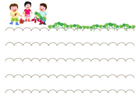 Kids digging sweet potato illustration.  イラスト・ベクター素材