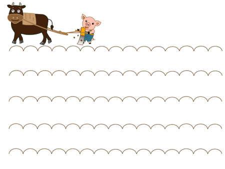 The frame of the farm. Pigs doing farm work.