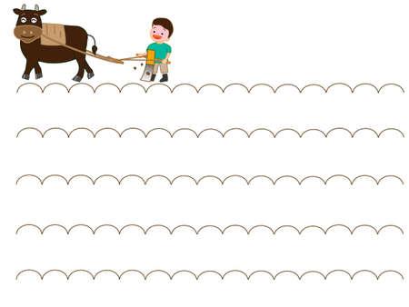 Children doing farm work illustration. Foto de archivo - 102191593
