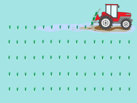 The frame of the farm. Tractor in the paddy rice seedling planting work.  イラスト・ベクター素材
