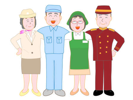 Workers who work hard, for the elderly. Illustration