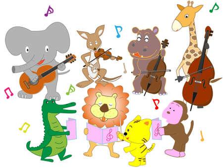 Koncert zwierząt. Ilustracje wektorowe