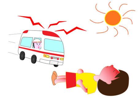 Children become heat stroke  イラスト・ベクター素材