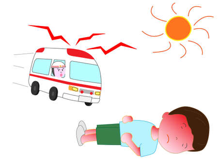Children become heat stroke Illustration