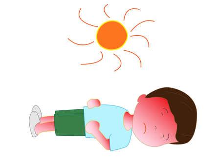 Children become heat stroke Illustration