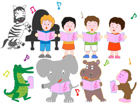 The concert of animals and children.