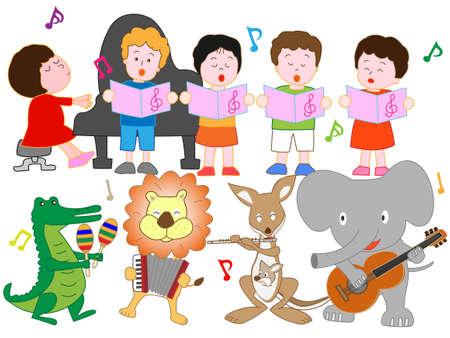 El concierto de animales y niños.