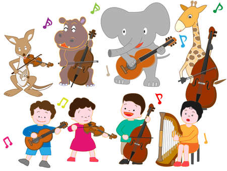 The concert of animals and children. Banque d'images - 106485195