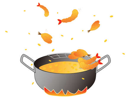 cook fried food in a frying pan concept illustration Illustration