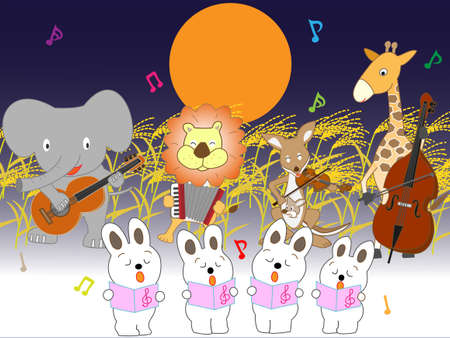 A concert of animals of autumn full moon night