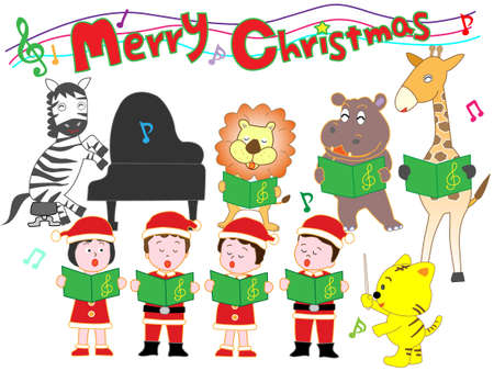 Animals and children's Christmas concert Banque d'images - 108762608