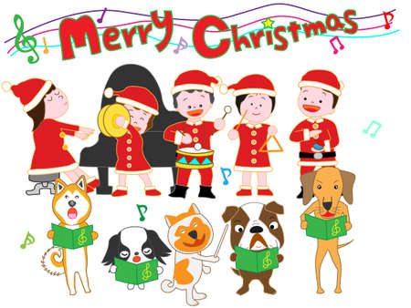 Kids and dogs Christmas concert. Illustration