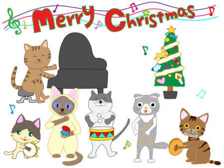 Cat Christmas concert Illustration