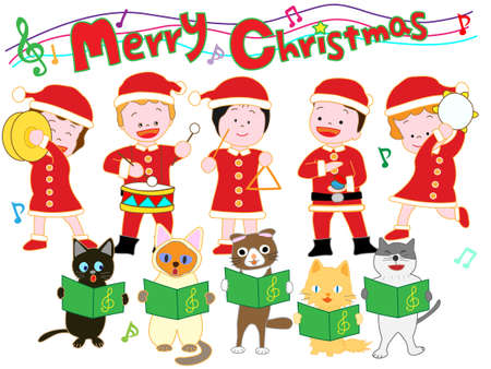 Children and cats Christmas concert Illustration