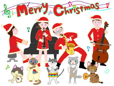 Cats with a family Christmas concert 写真素材 - 108999380