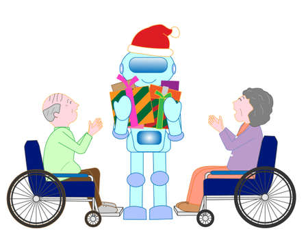 Santa Claus robot Christmas has artificial intelligence are giving presents to the elderly in wheelchairs.