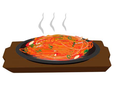 Pasta dishes. Spaghetti Napolitan. Illustration