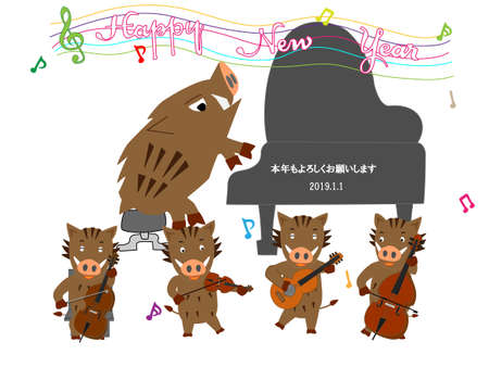 Posting of the year of the boar in the year 2019. Illustration