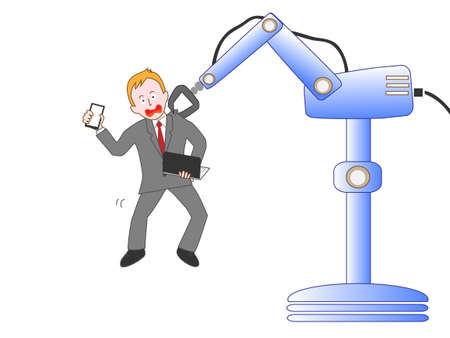 Pickin the businessman AI robots and to work, no longer needed. Illustration