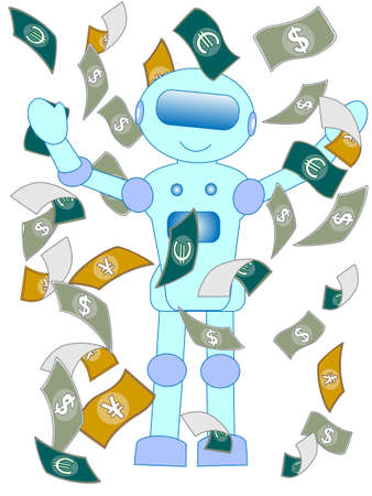 Robots with artificial intelligence humans changed the job was to get rich. Imagens - 112719093