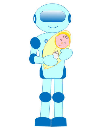 Robots with artificial intelligence has a Lullaby for the baby.