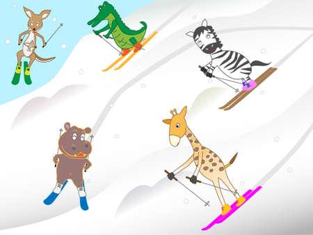 Animal ski  イラスト・ベクター素材