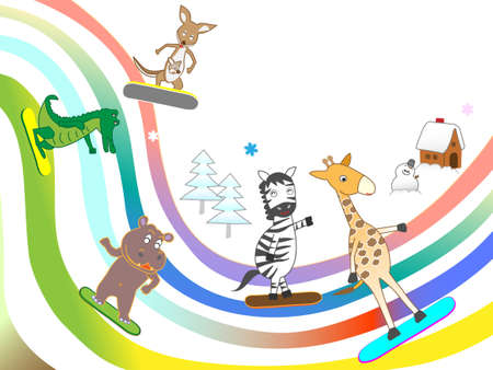 Snowboarding in animals.