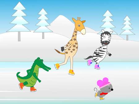 Animals fun ice skating  イラスト・ベクター素材