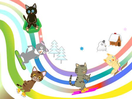 Winter sports cat. Illustration