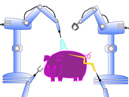 Pigs will be converted into a robot with artificial intelligence  イラスト・ベクター素材