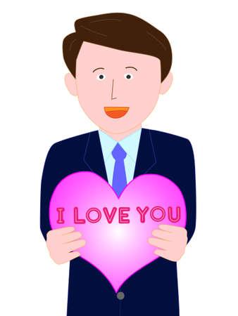 Businessman professes love on Valentines day Illustration