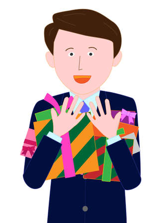 Businessman got a lot of presents on Valentines day  イラスト・ベクター素材