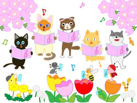 Koty i owady Wiosenny koncert Ilustracje wektorowe
