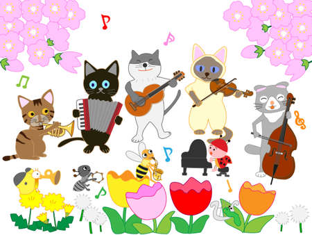 Cats and insects Spring concert Banque d'images - 117200178