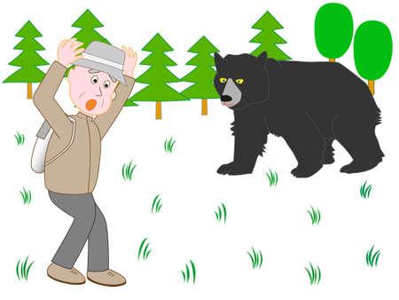 Gli uomini sono sorpresi dall'arrampicata sugli animali che frequentano Vettoriali