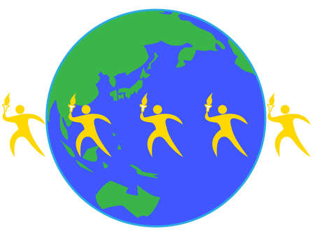 Illustration image of international sports competitions. The worldwide relay.