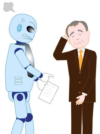 Businessman is scolded by the boss of a robot with artificial intelligence  イラスト・ベクター素材