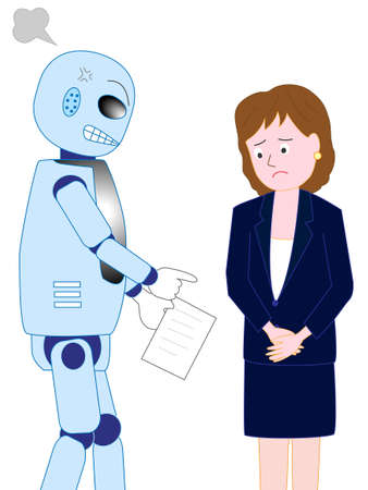 Business woman is scolded by the boss of a robot with artificial intelligence  イラスト・ベクター素材