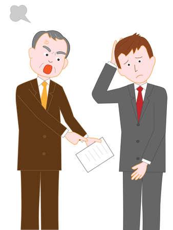 Geschäftsmann wird vom Chef im Büro beschimpft Vektorgrafik