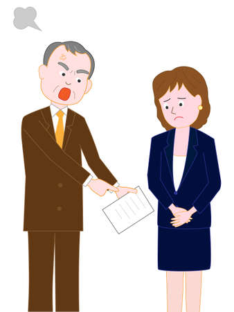 Business woman scolded by his boss in the Office