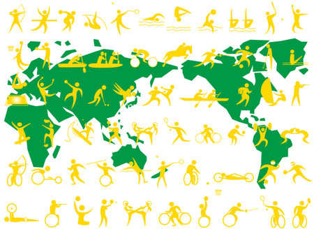 A set of sport icons including sports for persons with disabilities.