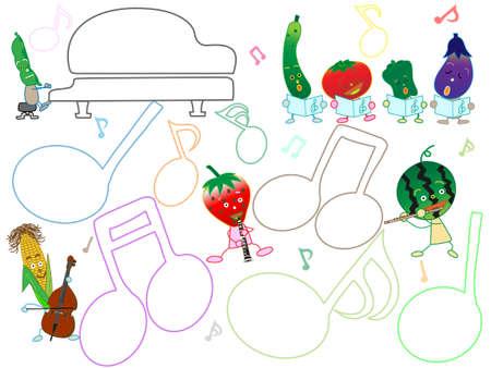 Cornice del titolo della musica. Questo è un concerto di frutta e verdura. Vettoriali