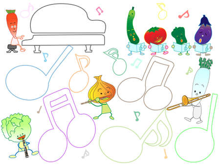 Music title frame. This is a concert of vegetables and fruits.
