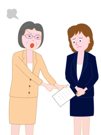 A businesswoman is scolded by the boss at work for mistakes.  イラスト・ベクター素材