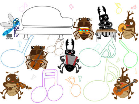 Concert of insects  イラスト・ベクター素材