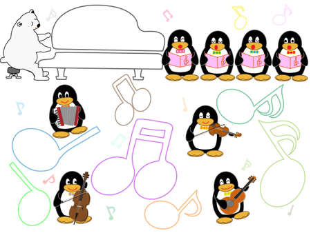 Showtime Aquarium animals. This is a concert of penguins, seals and dolphins.  イラスト・ベクター素材
